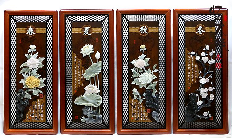 Jade carvings, decorative paintings, four screens, spring and summer, autumn and winter, jade murals, wood carvings, solid woode цена 2017