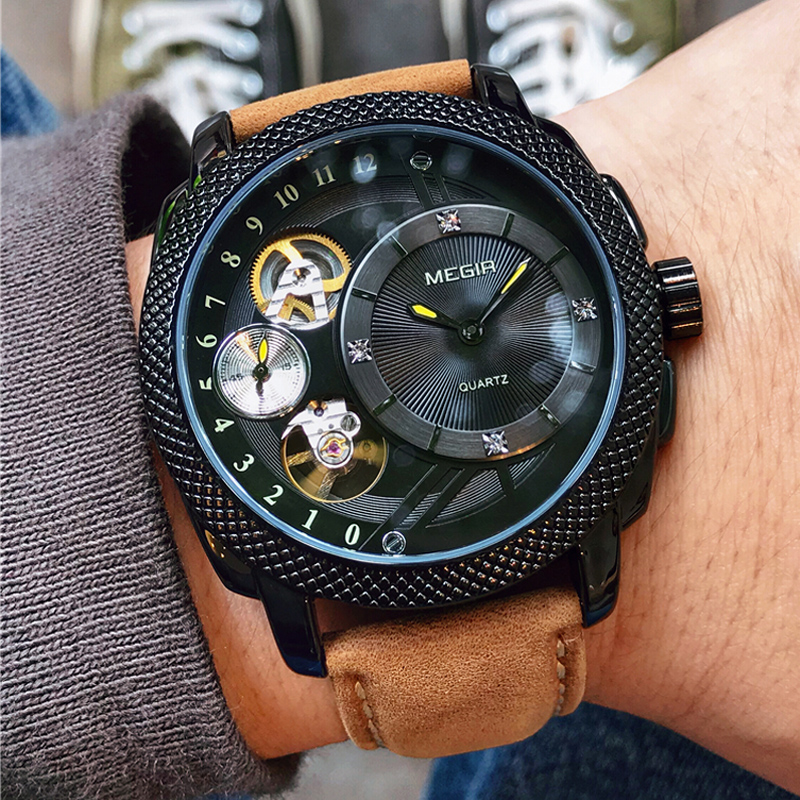 MEGIR Casual Men Watch Top Brand Luxury Chronograph Quartz Relogio Masculino Waterproof Leather Army Military Wristwatch ClockMEGIR Casual Men Watch Top Brand Luxury Chronograph Quartz Relogio Masculino Waterproof Leather Army Military Wristwatch Clock