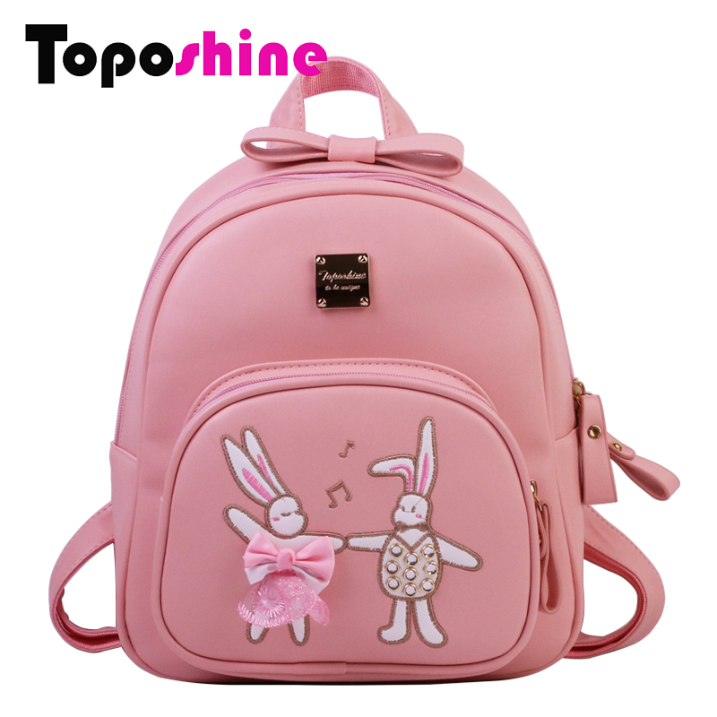Toposhine Girls Cute School Backpack Fashion Women Solid Lace And Bow Female Bag Two Rabbits Embroidery