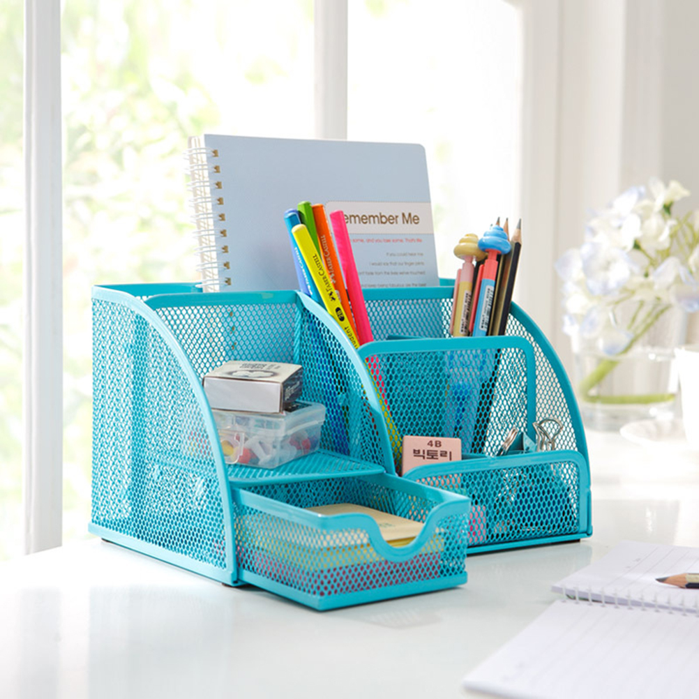 Office Desk Tidy Organiser Set storage box Zakka Iron Pill