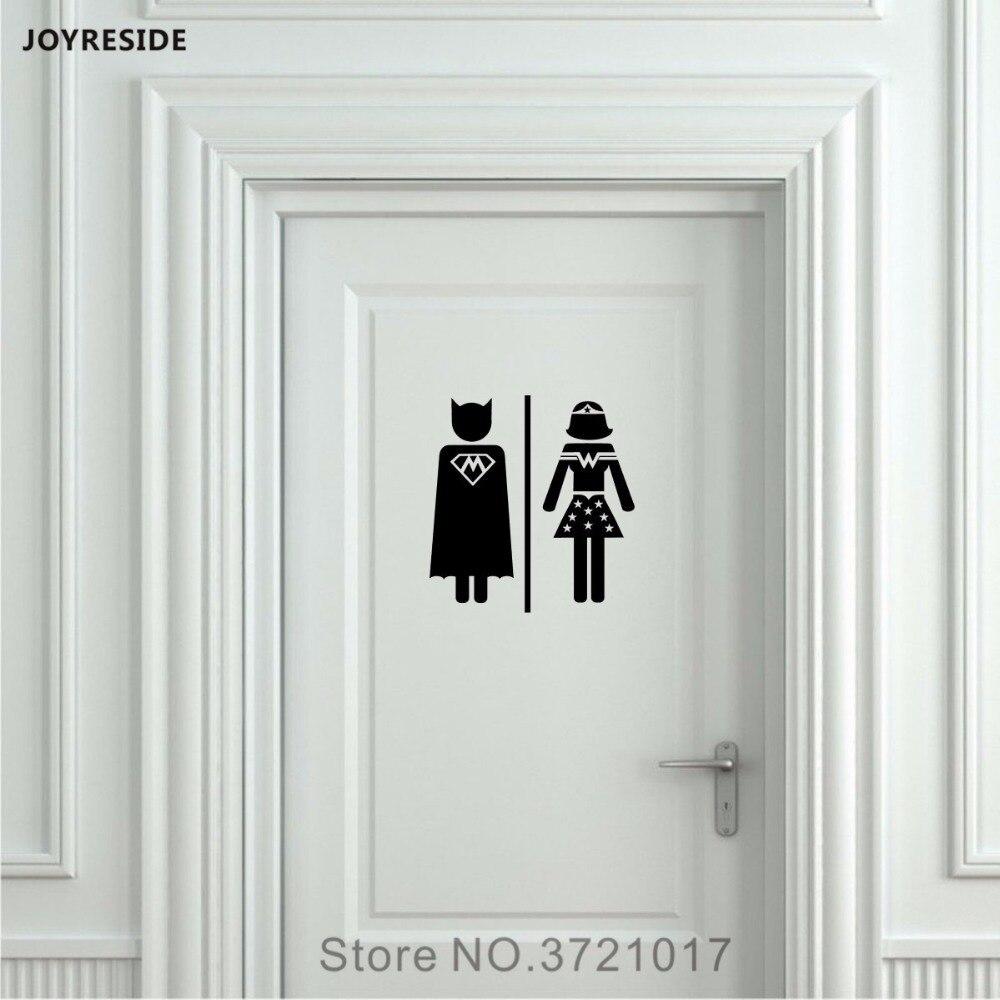 JOYRESIDE W&M Men Women Unisex Restroom Bathroom Toilet Sign Door Wall Decal Vinyl Sticker Decor Art Home DIY Decoration XY091