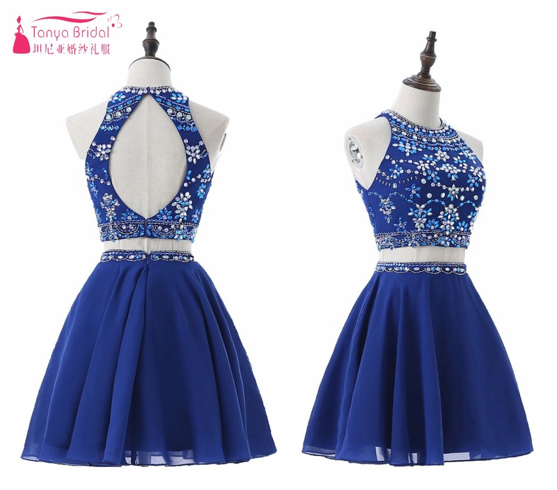 Two Pieces Sexy   Cocktail     Dresses   2019 Evening Party Bling Bling Formal   Dress   For Women Homecoming   Dress   Gown DQG634