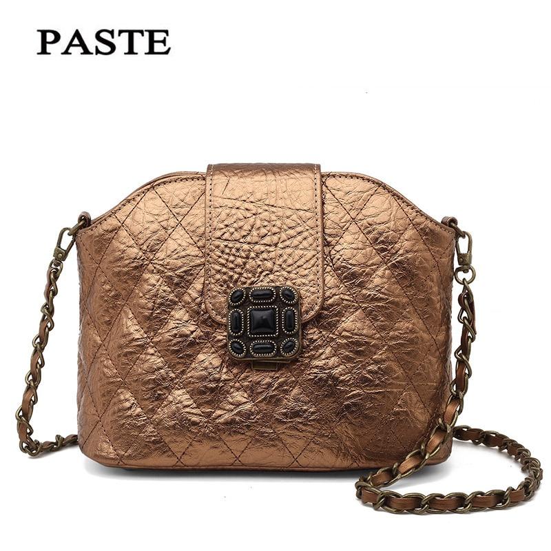 ФОТО PASTE New Style Fashion Classic Grid Chain Cowhide genuine leather Clutch Shoulder Bag Cross Body Flap Purse Evening Bag Handbag