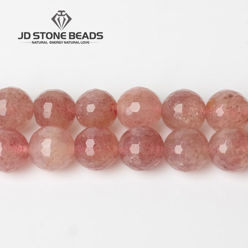JD Pierre Perles Livraison Gratuite Naturel Facettes Strawberry Quartz Perles Semi-Fini À La Main Bracelet Perles Accessoire