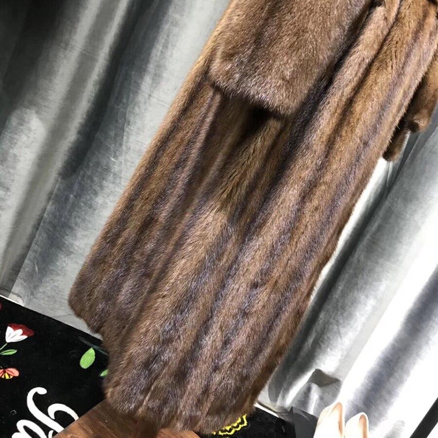 Vison Manteaux down 2018 Sable Fourrure Réel Mode Nature De Coffee Chauds Grande Imported Vêtements Femmes D'hiver Manteau Taille Col Luxe Turn Pour qwgxFa0I