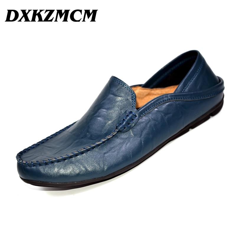 DXKZMCM  Fashion Men Casual Shoes  Men Flats Shoes Hand Made Breathable Slip-on Mocassins Men Loafers dxkzmcm new men flats cow genuine leather slip on casual shoes men loafers moccasins sapatos men oxfords