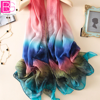 100 Pure Silk Print Multi Color Women Any Match Scarves Big Size 180x110cm Ultra Thin Transparent