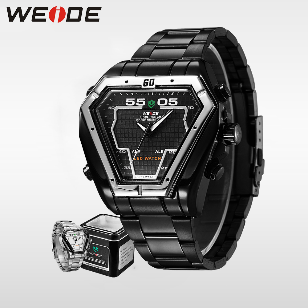 WEIDE Fashion Casual Luxury Watches Men Luxury Brand Quartz Watch Stainless Steel Waterproof Military Clock Masculino WH1102