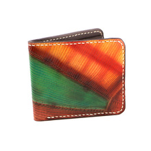 Hand-made Short Cow Leather Lovers Wallets Purses Men Iridescent Color Clutch Vegetable Tanned Leather Wallet Card Holder handmade genuine leather wave wallets carving auspicious clouds bag purses women men long clutch vegetable tanned leather wallet
