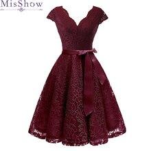 Женское короткое вечернее платье с V образным вырезом, с поясом