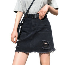 56e78265d6b BOBOKATEER Plus Size Denim Skirt Women Skirts Womens Summer Sexy Mini High  Waist Black Jean Skirt