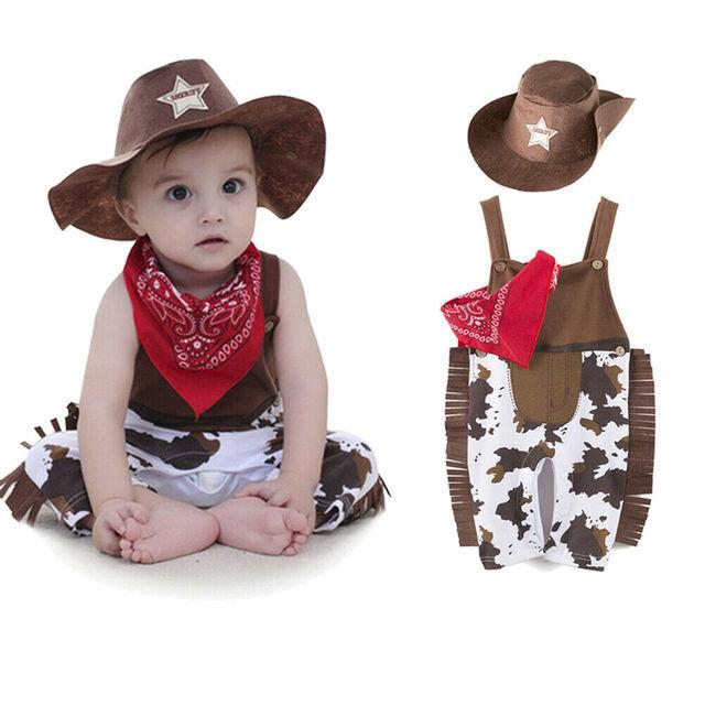 Bonito Pelele de vaquero para niños y niñas, para Cosplay, disfraz de Carnaval y fiesta, traje de vaquero para niños de 0 a 24 meses