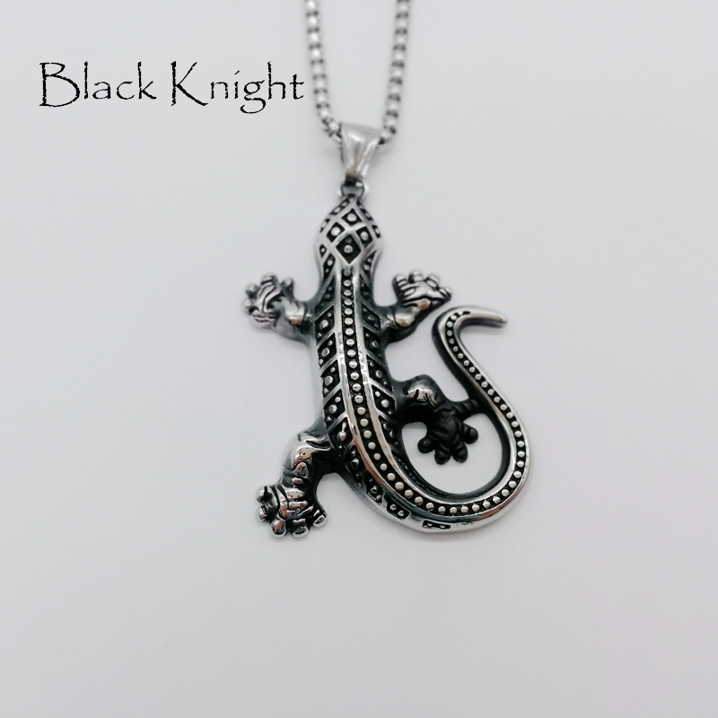 Black Knight Animal wall gecko Pendant necklace stainless steel wall gecko Lizard necklace personal jewelry necklace BLKN0657 in Pendant Necklaces from Jewelry Accessories