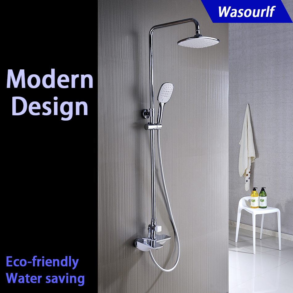 WASOURLF bathrrom shower set bath shower mixer faucet tap rain shower head solid brass white modern design kemaidi new modern wall mount shower faucet mixer tap w rain shower head