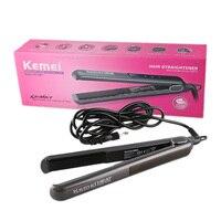 Kemei km-1089 touch control revestimiento de cerámica que endereza el hierro rizador rizador de pelo plancha de pelo planchas chapinha
