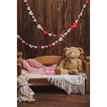 New Born Baby Photography Backdrops Brown Wooden Floor Wall Cot Cute Bear Vinyl Cloth Background for Photo Studio Kids Customize(China)