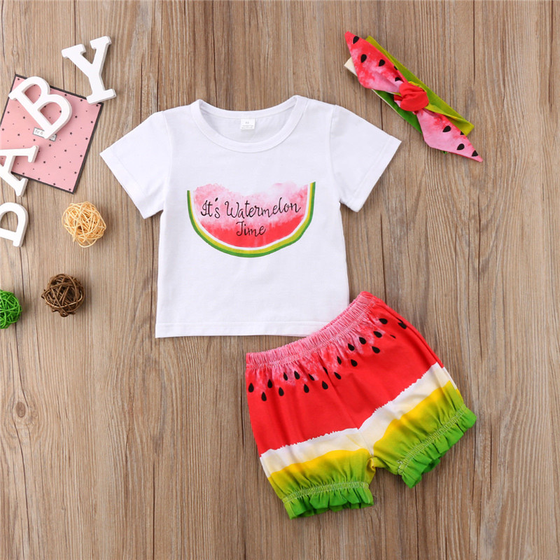 3Pcs Kids Baby Girl Watermelon High Quality Outfit Headbandt Shirtsshorts Clothes -1260