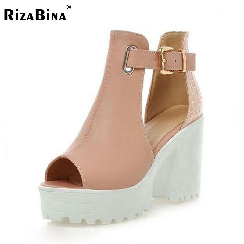 Big size 34-43 Women Gladiator Sandals Vintage Design Ankle Straps Open Toe Summer Shoes Thick High Heels Platform Sandals