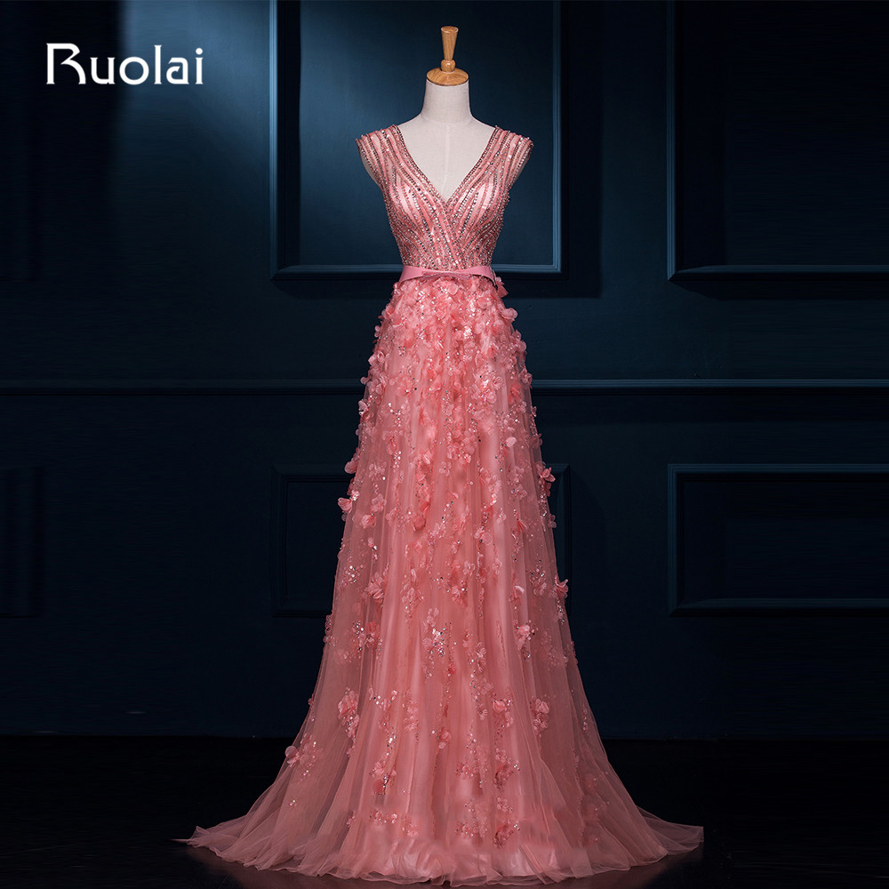 Real Photo Sexy A-Line Deep V-Neck Tulle Beaded Bodice Long   Evening     Dresses   Formal   Dress   Vestido de Festa Largo ASAFN16