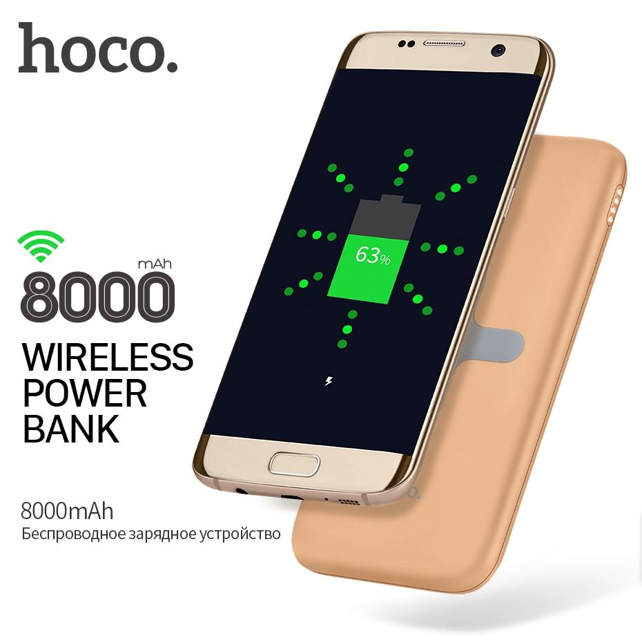 HOCO Qi 2.0 Wireless Power Bank Cargador Portátil de 8000 mAh Doble USB para App