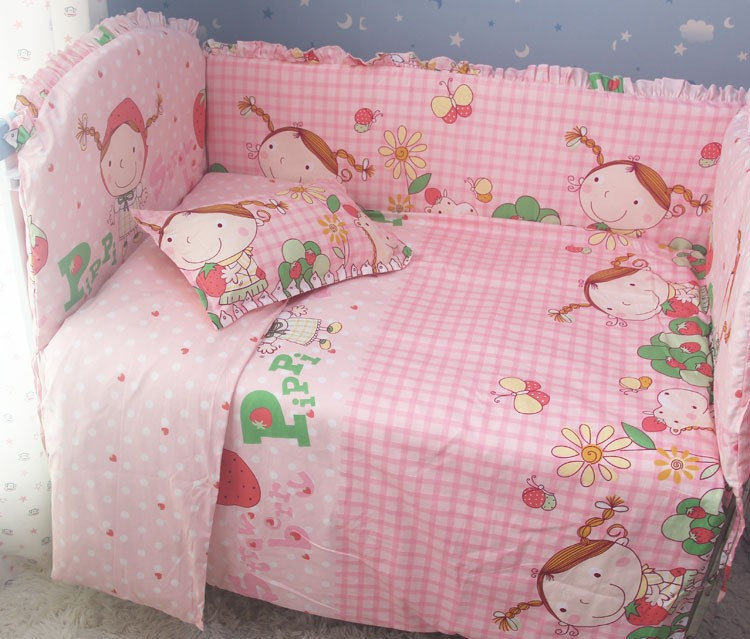 Promotion! 7pcs Baby Bedding set girls cot set Embroidery Quilt Flat Sheet (bumper+duvet+matress+pillow)
