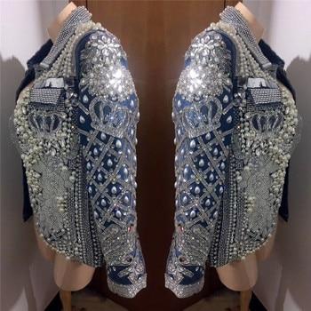 Club nocturno bar hip hop mezclilla piedras brillantes chaqueta Cantante  Femenina traje de baile de jazz gogo de Europa y América de abrigo traje 4b597fc7a8af