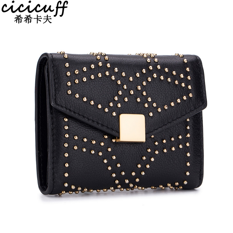 CICICUFF New Woman Small Wallet Female Genuine Leather Bifold Short Purse Fashion Rivet Designer Wallets Coin Purses for Women fashion women wallets multi function high quality small wallets rivet love short design three fold wallet coin purse for women