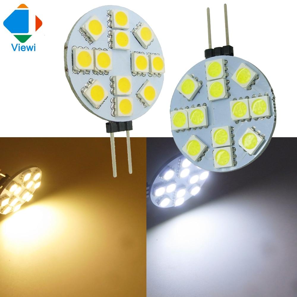 Viewi lampadine 10x led light g4 dc 12v smd5050 12leds car for Lampadine led lumen