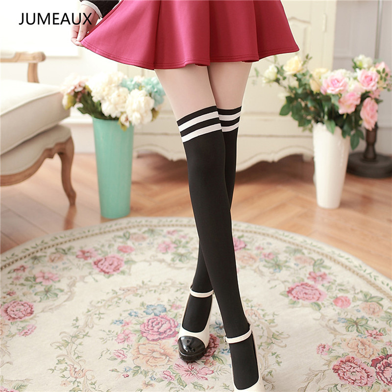 JUMEAUX 2017 New Fashion Black Tights for Girls Sexy Pantyhose Women Over The Knee Lovely Nylon Stockings