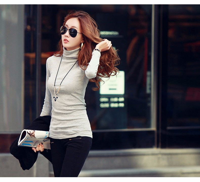 Spring Autumn Winter Fashion Turtleneck Tops Long Sleeve Cotton T Shirt Slim Casual t-shirt women 2016 Basic Tees Shirts A550 c