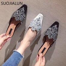 SUOJIALUN Women Summer Slippers Outdoor Quality Flat Mules Fashion Bling Rhinestone Slip On Ladies Beach Slides Sandal flipflops