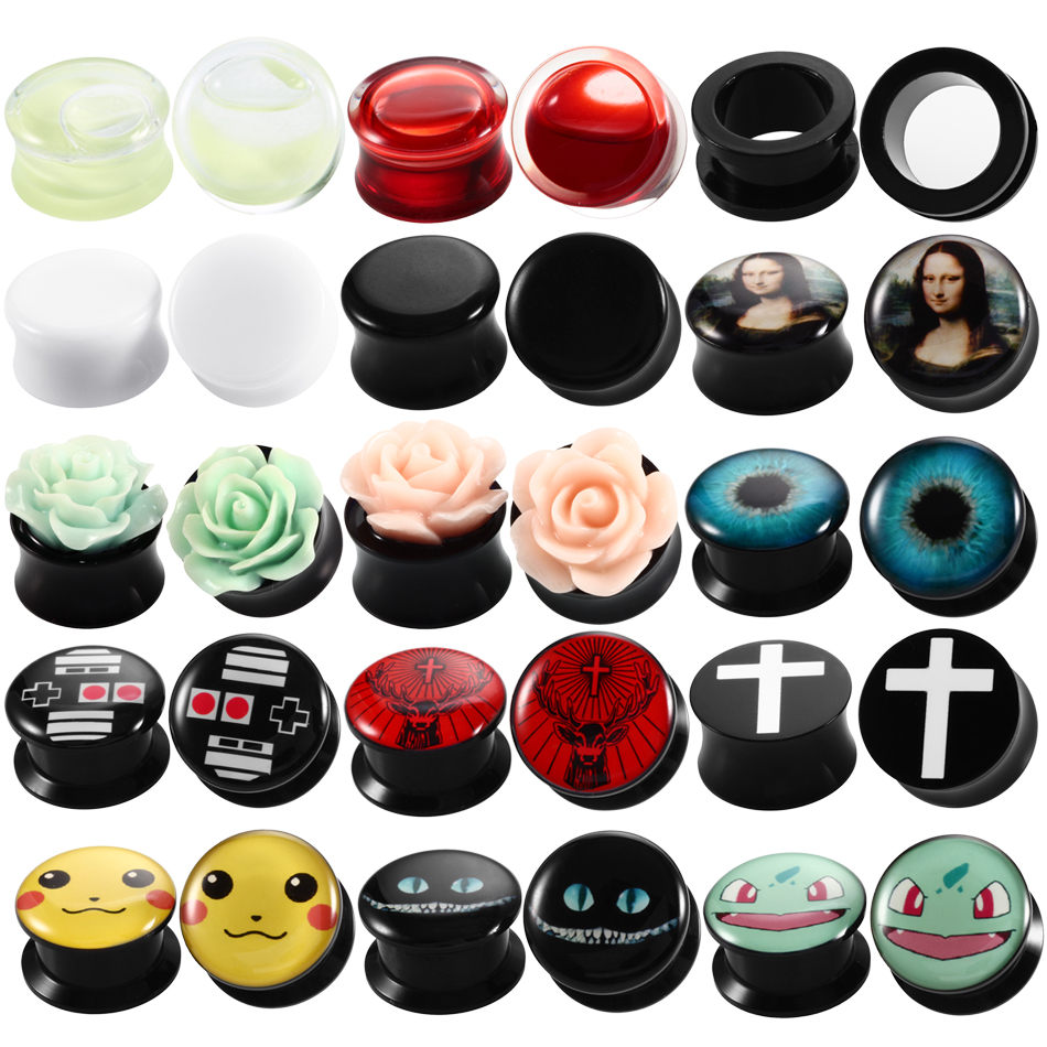 2Pcs Acrylic Ear Plugs and Tunnels Expander Tunel Piercing Flexible Ear Gauges Earring for Women Body Jewelry Piercing Stretcher