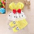 Bibicola coreano meninas do bebê verão bonito dress roupas terno define conjuntos de vestuário de lazer crianças temperamento arco roupas childern terno