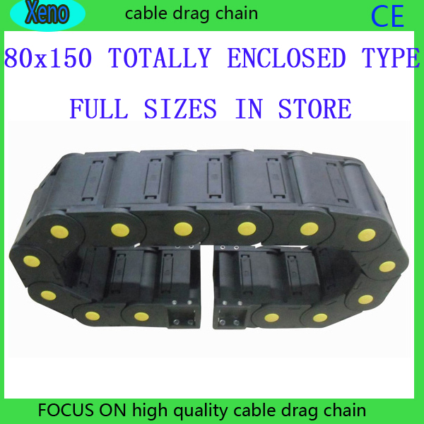цена на Free Shipping 80x150 1 Meter Totally Enclosed Type Plastic Cable Drag Chain Wire Carrier With End Connects For CNC Machine