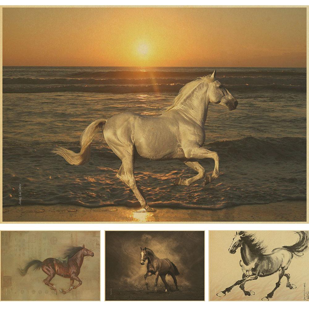 Rétro sticker cowboy rétro affiche cheval intérieur de la maison millésime décoration sauvage western art mural