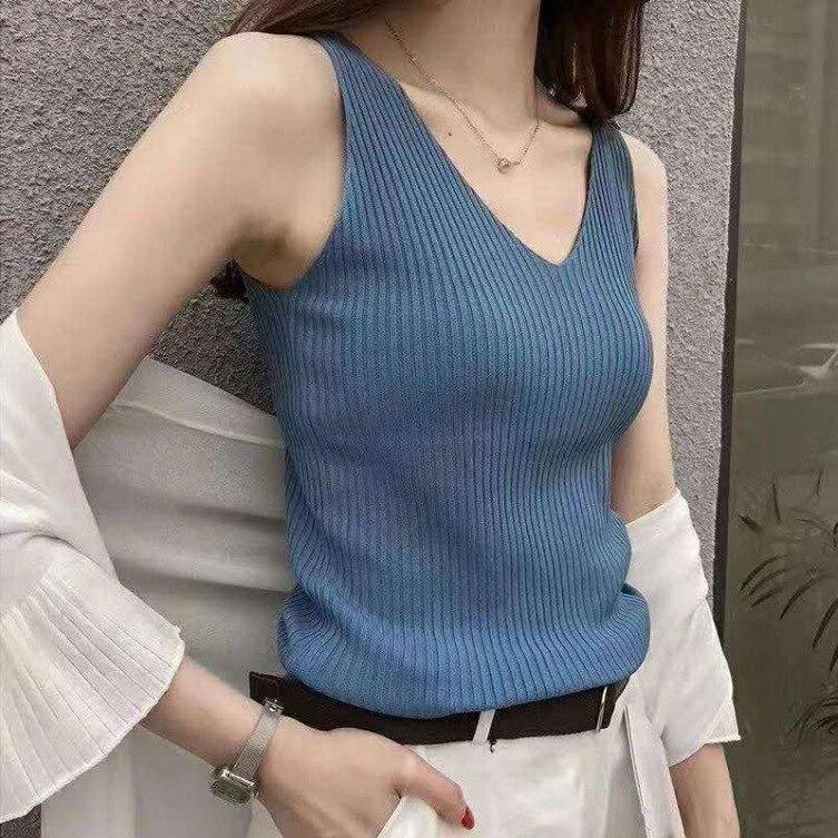 Summer Women's New Style Streetwear Ice Silk Knit Vest Sleeveless Sexy   Top   Korean Style Slimming Thin Women   Tank     Tops