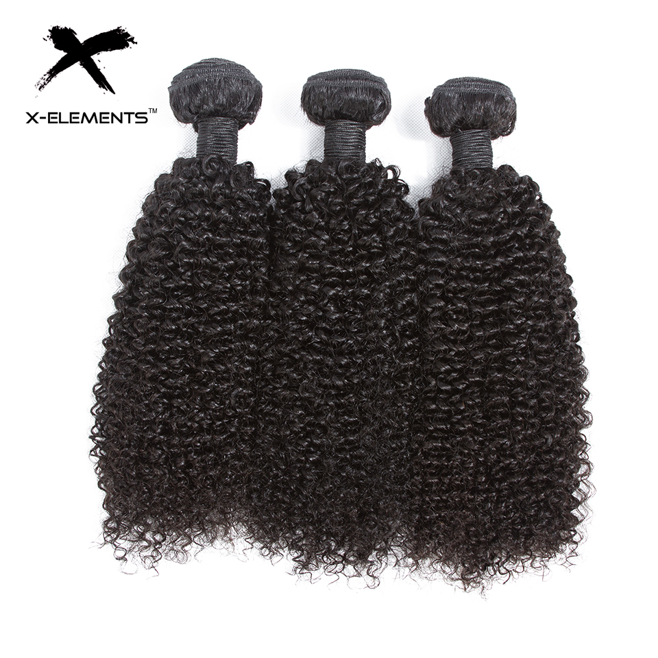 X-Elements Hair Malaysian Kinky Curly Hair Weave 3 4 Bundles Deals 100% Human Hair Extensions Non-Remy 8-26 Inches Natural Color (1)