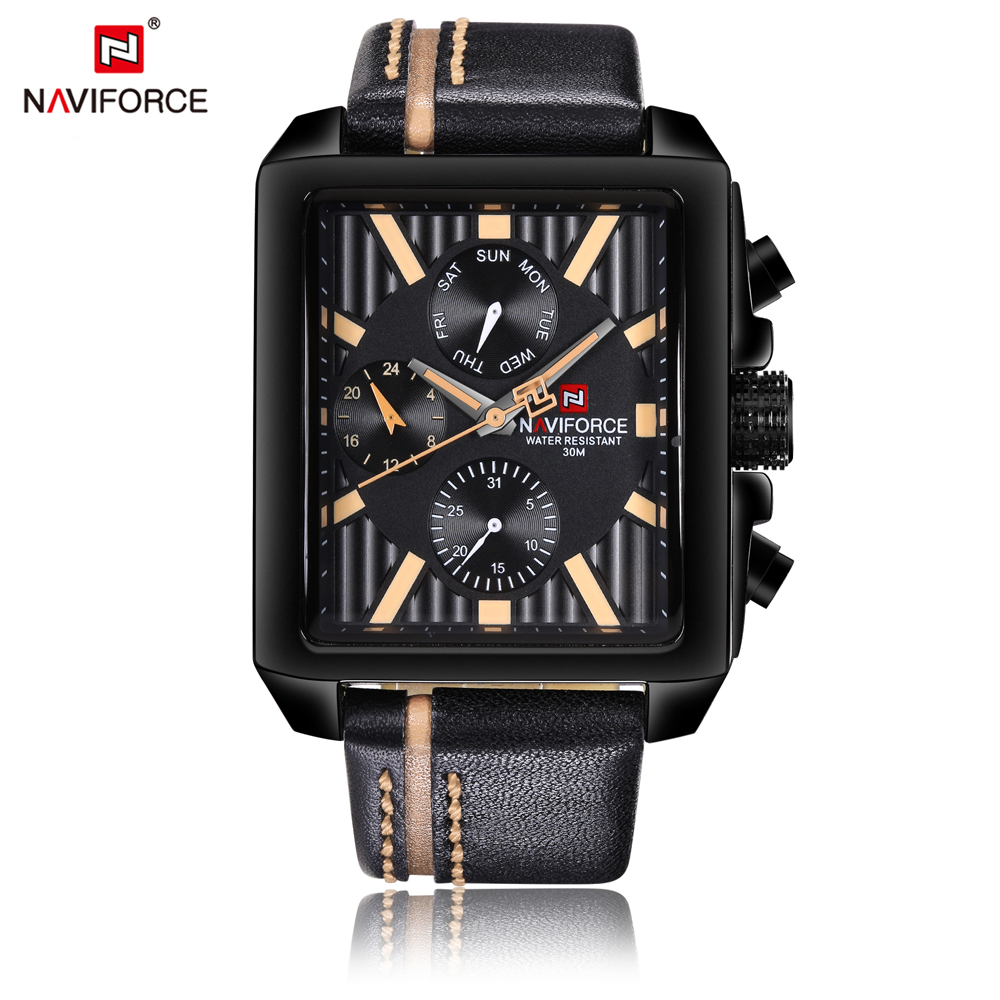 Luxury Casual Watch Men NAVIFORCE Brand Fashion Sport Military Watches Waterproof Leather Quartz Mens Watches Relogio Masculino uslion phone case for iphone 7 6 6s 8 x plus 5 5s se xr xs simple solid color ultrathin soft tpu cases candy color back cover