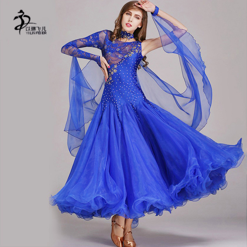 Royal Blue Ballroom Competition Dress Modern Waltz Tango/Latin Dance Dress/Flamenco Dance Dress Спортивный бальный танец