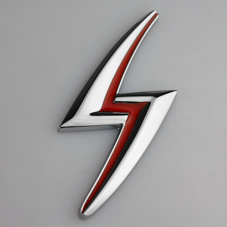 1 PCS 3D chrome Silver Red Lightning S Emblem Badge Flash ABS Refitting Cool Auto Exterior car Stickers Car Styling