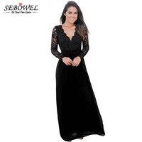 SEBOWEL 2017 Open Back Long Sleeve Crochet Maxi Party Dress Long Lace Women Dress Vestidos Mujer