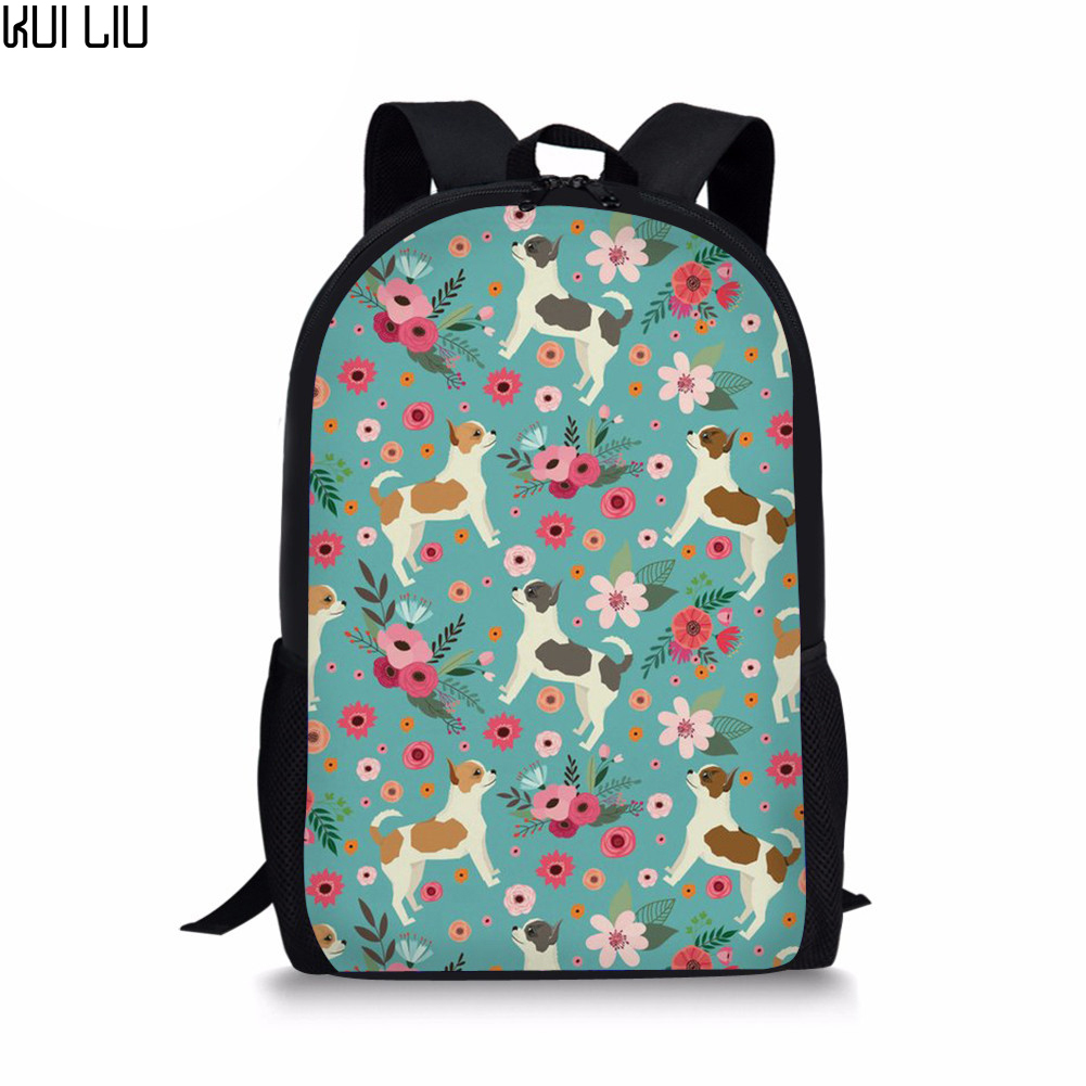 Customized Children School Bags Orthopedic Backpack Chihuahua Printing For Girl Kids Satchel Primary Student Knapsack Mochila