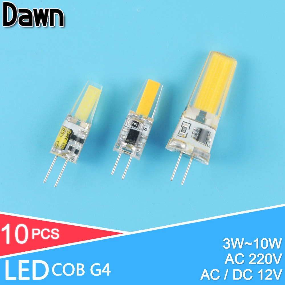 10pcs LED G4 Lamp Bulb AC DC Dimmable cob led 12V 220V 3W 6W 10w COB SMD LED Lighting replace Halogen Spotlight Chandelier 10pcs led g4 lamp 220v g4 led bulb light ac dc 12v 10w 6w smd 2835 3014 spotlight 360 beam angle replace for crystal chandelier