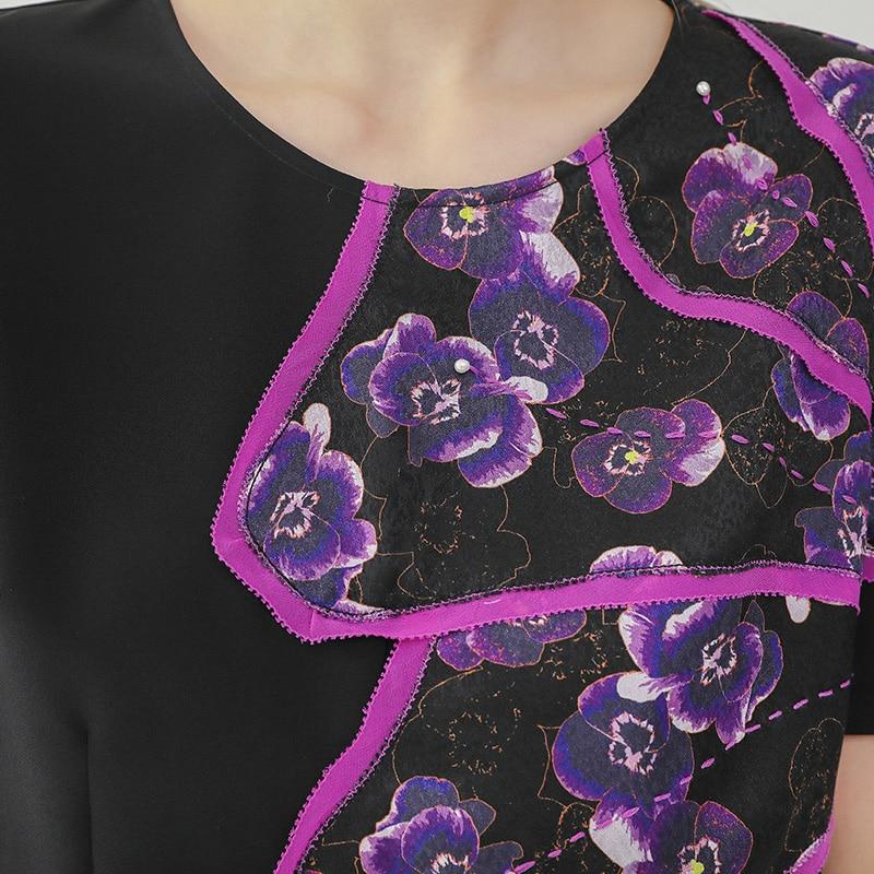 Pull Hauts B765 Voa Imprimer Décontracté shirt Chemise Noire Courtes D'été Basique Manches T Dames Soie Noir Femme T q4qz6ra