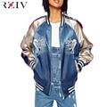 RZIV 2016 Mulheres jaqueta casual jaqueta bordada carpa