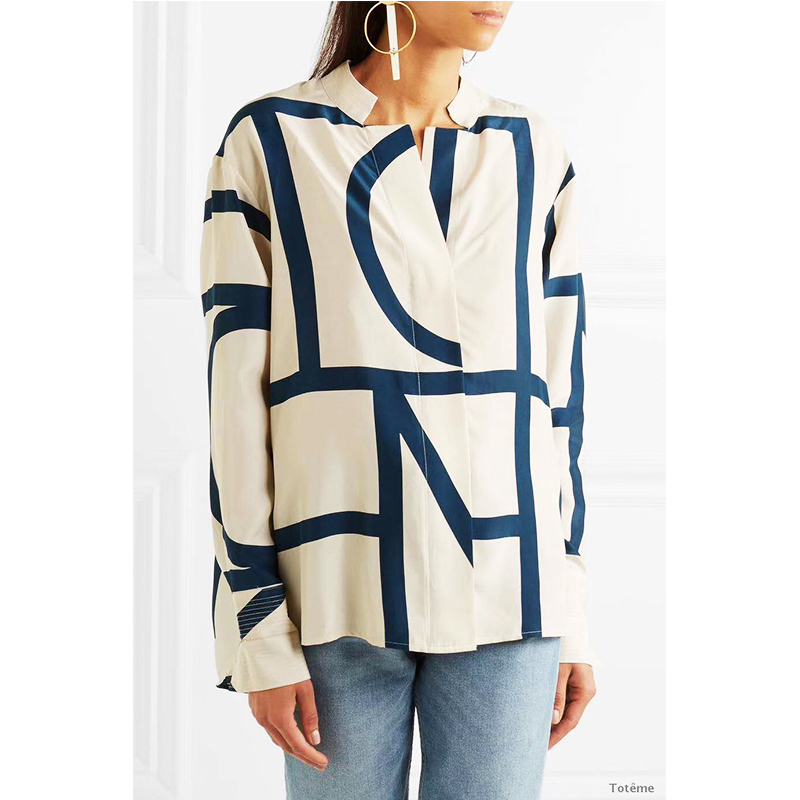 Women Shirt Sweden 2019 Summer Irregular Geometric Pattern Loose Printed Silk Shirt