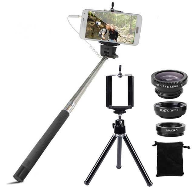 Phone Camera Lenses Kit Fish Eye Wide Angle Macro Lens Wired Selfie Stick Monopod Mini Tripod 6in1 Kit For iPhone 6 6s 7 Samsung