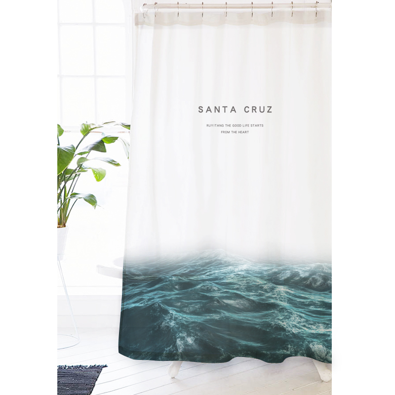 magic foggy ocean shower curtain sea wave comes bath shower decor fabric and waterproof gifts with