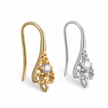 16mm Real Gold Plated Zircon Ear Wire Hook Clasps Earring Findings For Nickle Free Components CZ Crystal DIY Jewelry Findings цена