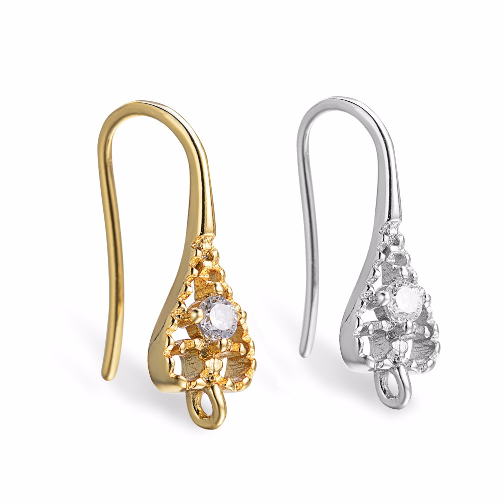 5pair Pure Gold Color Zircon Ear Wire Hook Clasps Earring Findings For Nickle Free Components CZ Crystal DIY Jewelry Findings
